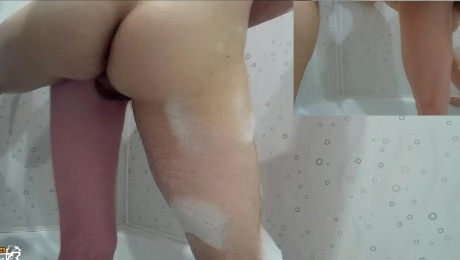 Sex in the bathroom. Blowjob, Pissing, classic, cumshot
