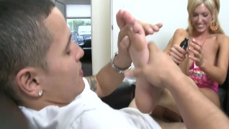 Blonde lady wants to go him erect by rubbing his pole with her feet
